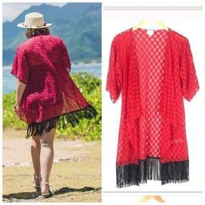LulaRoe Red Lace Monroe Cardigan Kimono Fringe